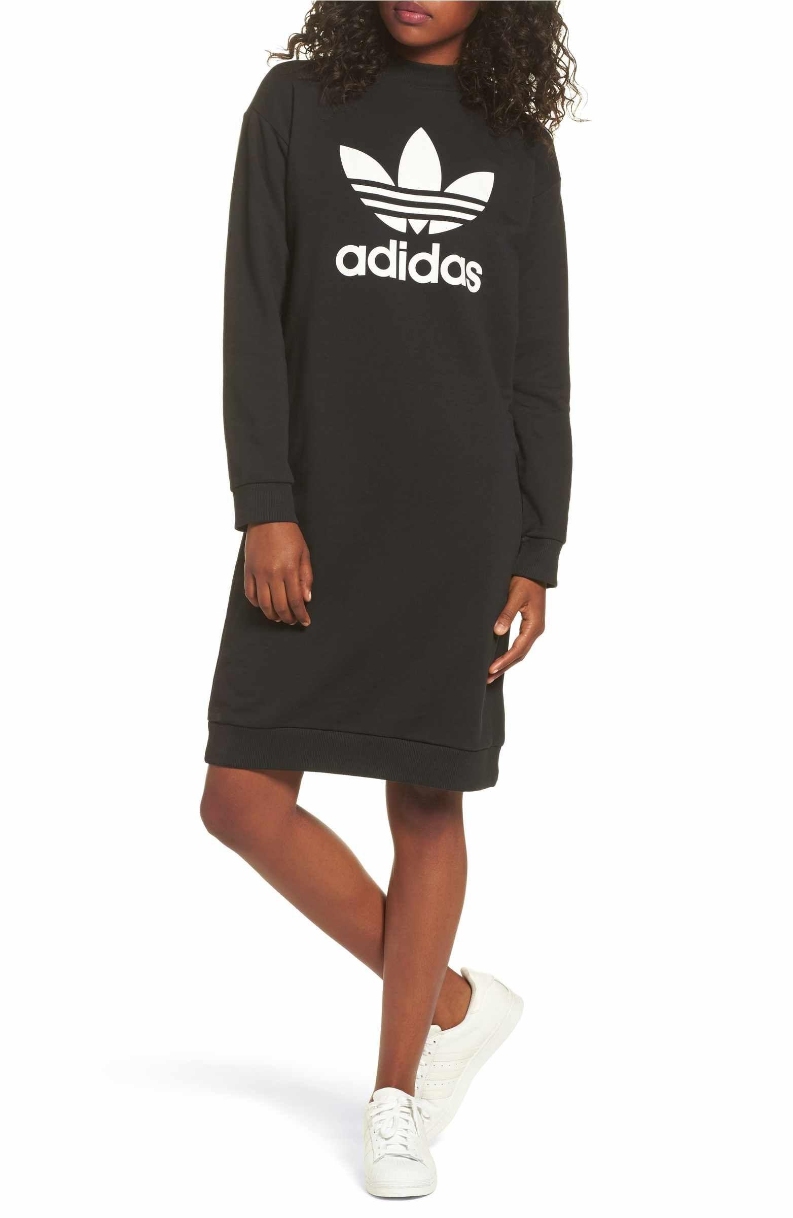 Adidas Trefoil French Terry Crewneck Dress Nordstrom Crewneck Dress Adidas Adidas Originals Women [ 2400 x 1564 Pixel ]
