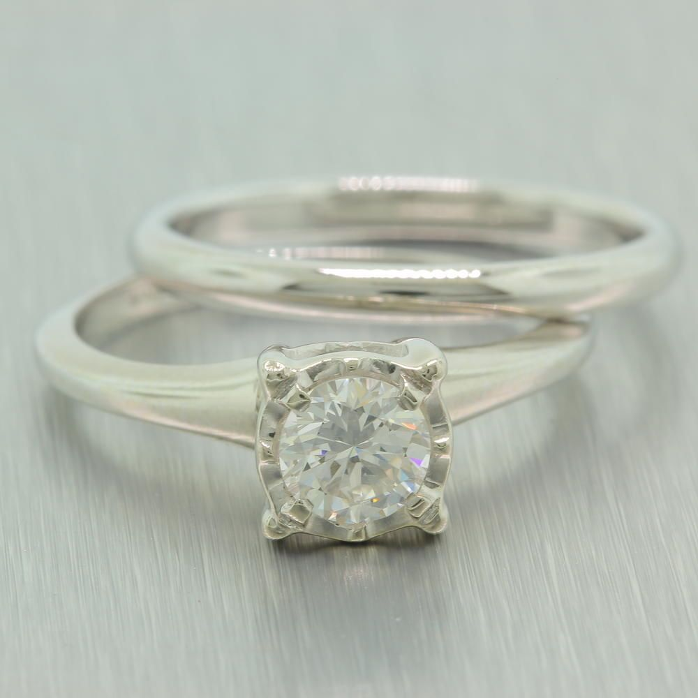 Classic vintage artcarved 14k white gold diamond 050