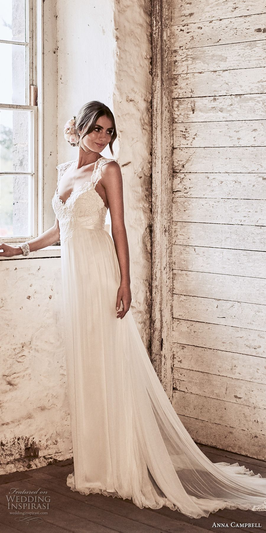 anna campbell 2018 bridal cap sleeves sweetheart neckline heavily embellished bodice tulle skirt soft a line wedding dress lace rasor back sweep train (12) mv -- Anna Campbell 2018 Wedding Dresses