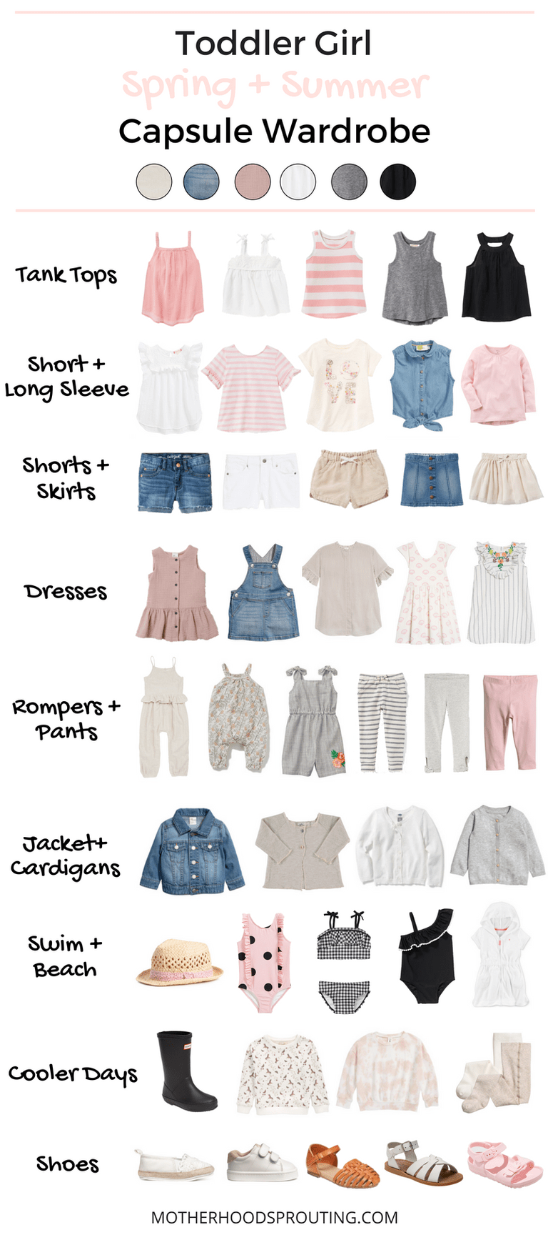 Toddler Girl Capsule Wardrobe: Spring and Summer! A summer wardrobe for your toddler girl! Great toddler girl clothes for summer vacations or trips to the beach. This capsule wardrobe for summer can be used as a shopping checklist when your go to buy your toddlers summer clothes! #summer #toddlerclothes #babygirlclothes #capsulewardrobe #beachclothes #toddlerswimsuit #motherhood #beachvacationclothes