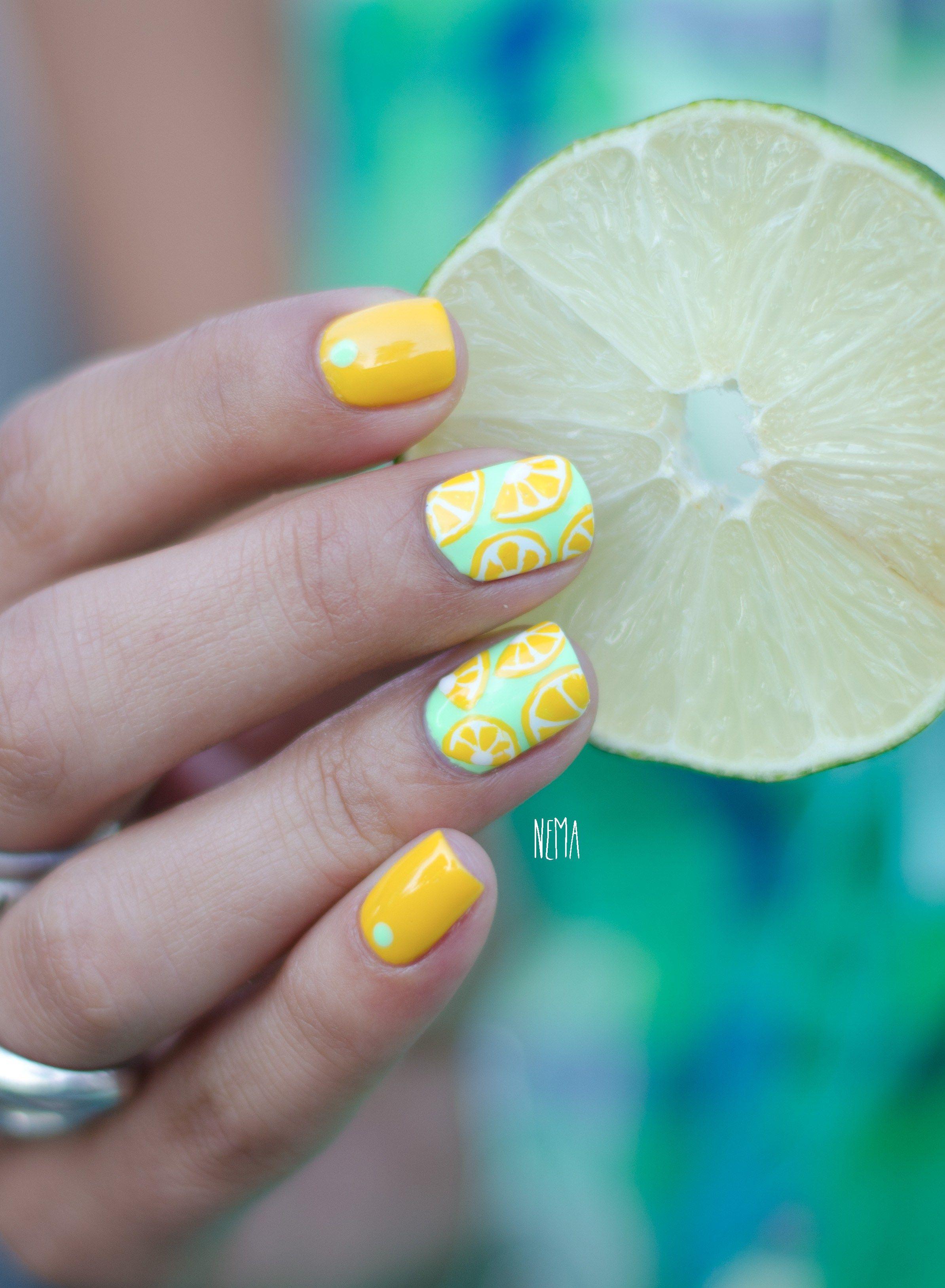 Fruity Nails (lemons) | Nails | Pinterest | Diseños de uñas, Diseños ...