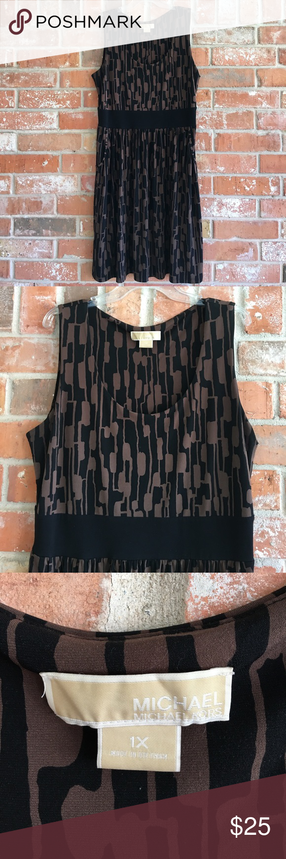 """Classy Stretchy Dress By MK Plus Size 1X This dress is so pretty and in great condition. No rips stains or tears. It measures 23"""" underarm to underarm without stretching any and waist measures 20"""" without stretching any. It is 42"""" long. Get this one while you can💕💕😘😘 Michael Kors Dresses Midi"""