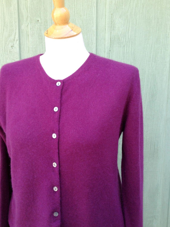 Valerie Stevens Petite Plum Colored Cashmere Cardigan Sweater ...