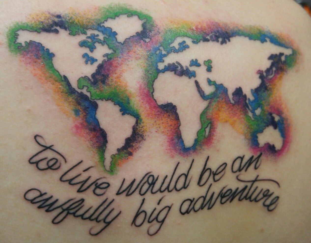 Sweet negative space watercolor world map tattoo from dustin at self sweet negative space watercolor world map tattoo from dustin at self inflicted studios in st peters mo gumiabroncs Gallery
