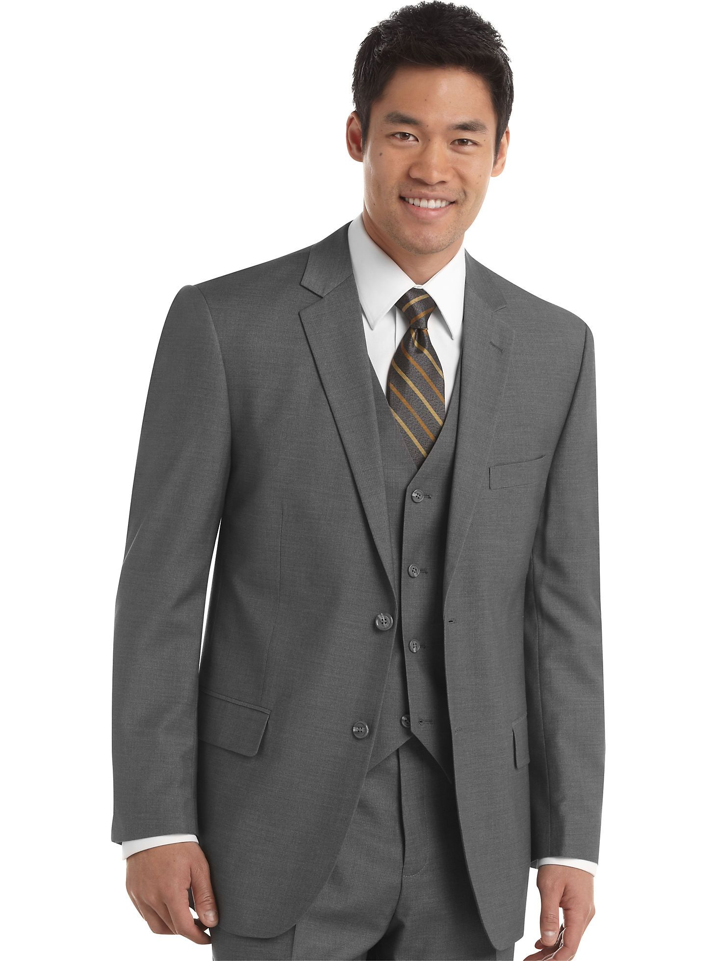Suits wilke rodriguez gray vested slim fit suit mens wearhouse