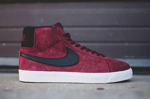 Nike Blazers Chaussures En Daim Rouge