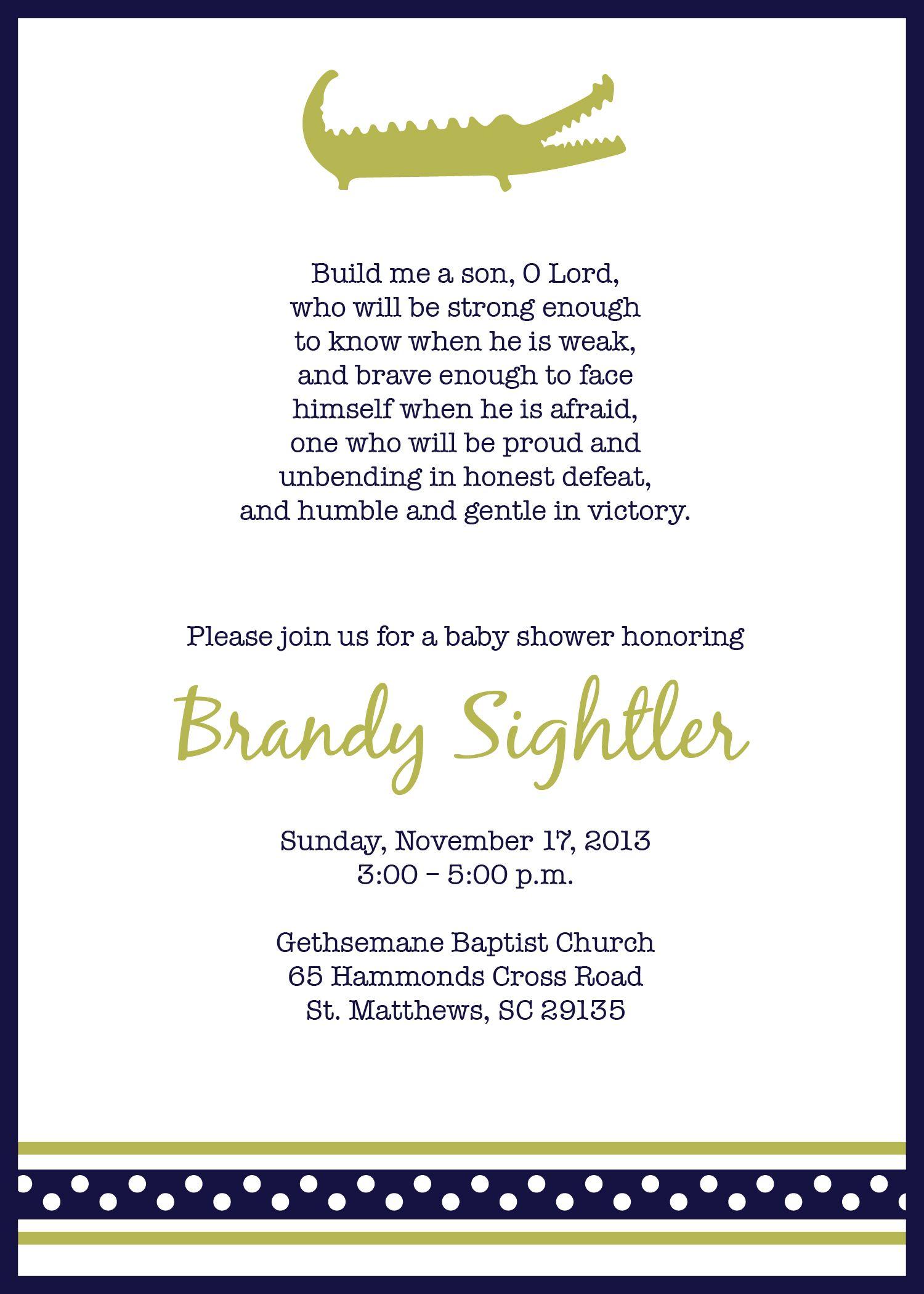 Alligator Baby Shower Invitation $15 | Love being Auntie ...