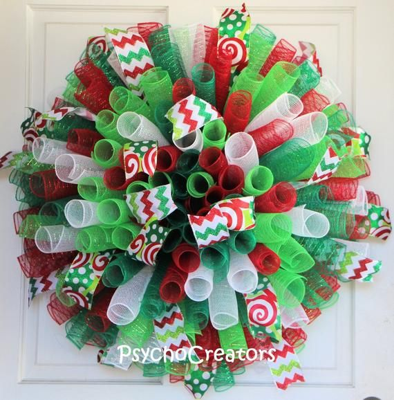 """Photo of Items similar to XL CHRISTMAS Curly Wreath, Deluxe 29"""" Grinch Spiral Deco Mesh Wreath, Red White Green Festive Winter Wreath, Children's Fun Whimsical Decor on Etsy"""