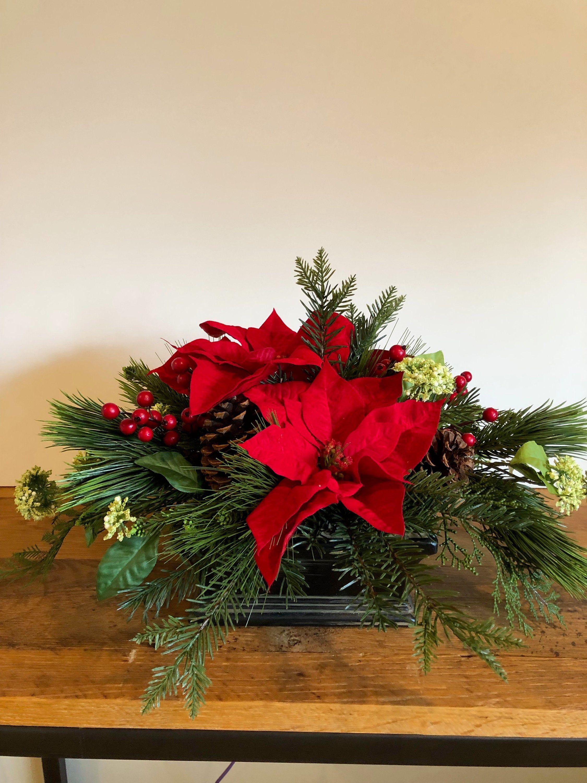 Red Poinsettia Centerpiecechristmas Dining Table Etsy Poinsettia Centerpiece Holiday Centerpieces Christmas Flower Arrangements