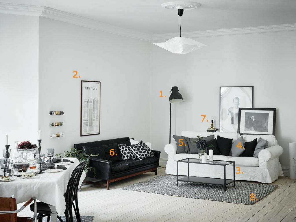 Shop the look: woonkamer in zwart, wit en grijstinten - Roomed ...