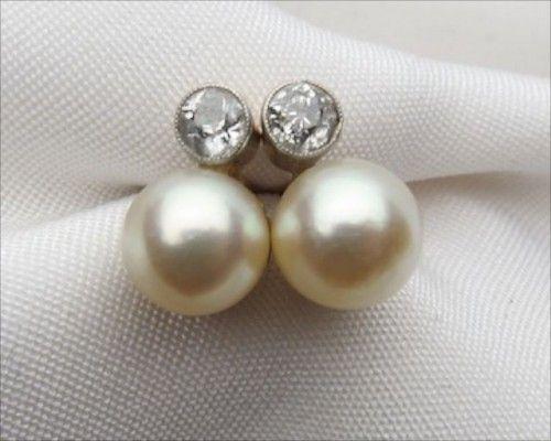 Vintage Pearl Diamond Stud Earrings Fashion Wedding