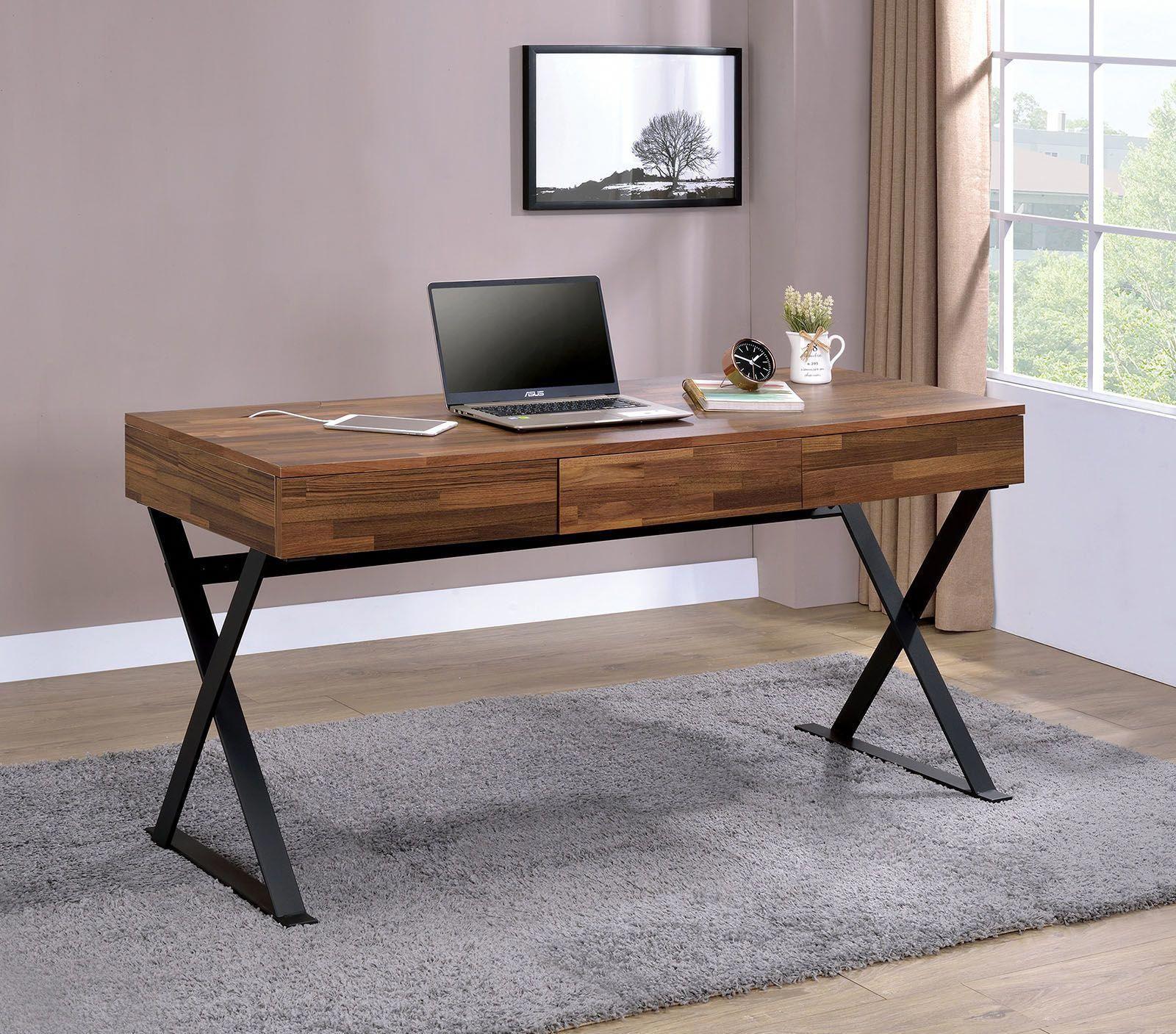 Tensed Computer Desk Cm Dk807 Furniture Of America Office Desks In 2020 Cheap Office Furniture Industrial Style Office Desk Wood And Metal Desk