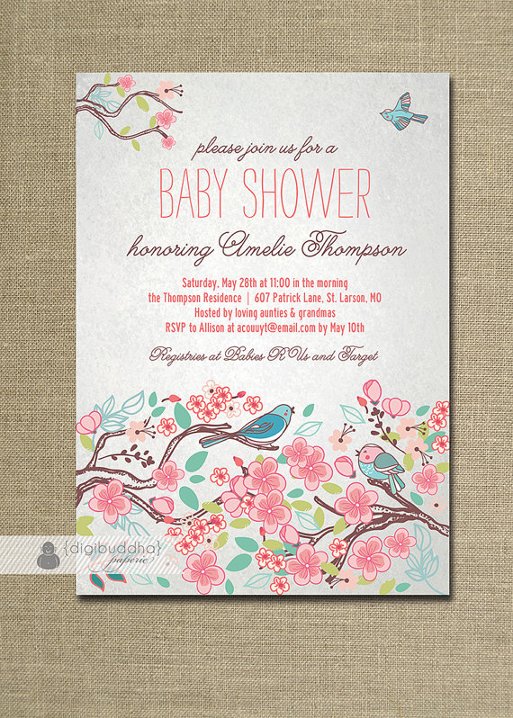 Bloom Bird Baby Shower Invitation Garden by digibuddhaPaperie – Garden Party Baby Shower Invitations