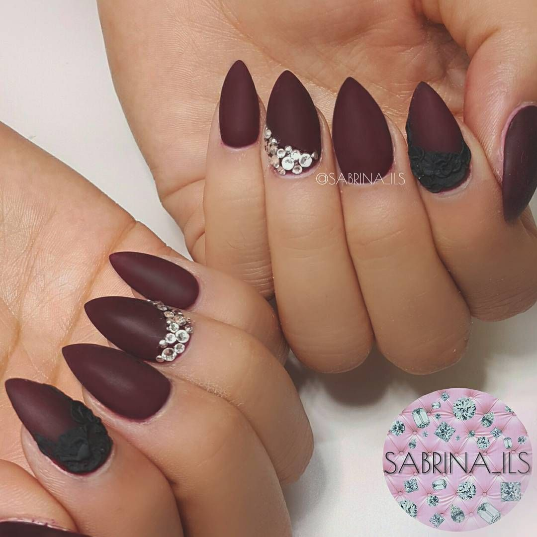 Matte deep red with black 3D roses. ❤ #nails#nailart#instanails ...