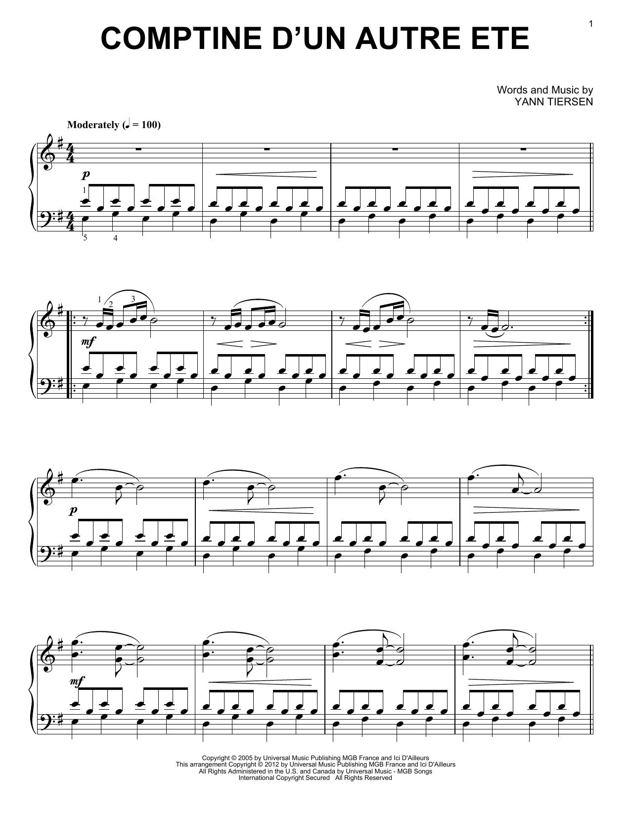 Comptine D Un Autre été Guitar Tutorial Comptine D Un Autre Ete From Amelie Sheet Music Spartiti