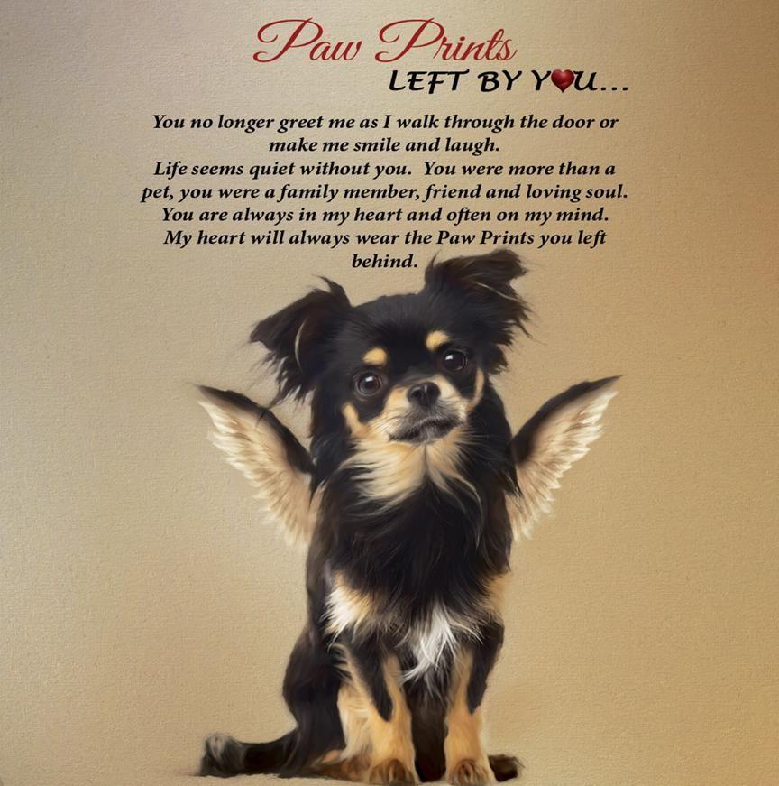 Black Tan Long Hair Chihuahua Angel Paw Print Plaque Paw Prints
