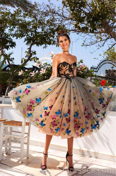 Sweetheart Butterfly Flower Unique Cheap Homecoming Dresses Online, Cheap Short Prom Dresses, CM748