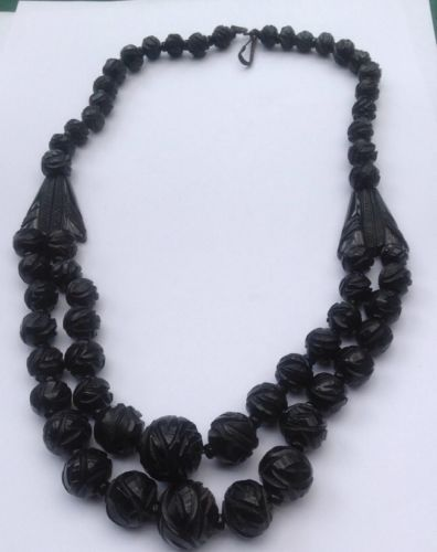 Victorian Whitby Jet Double Strand Carved Bead Necklace | eBay