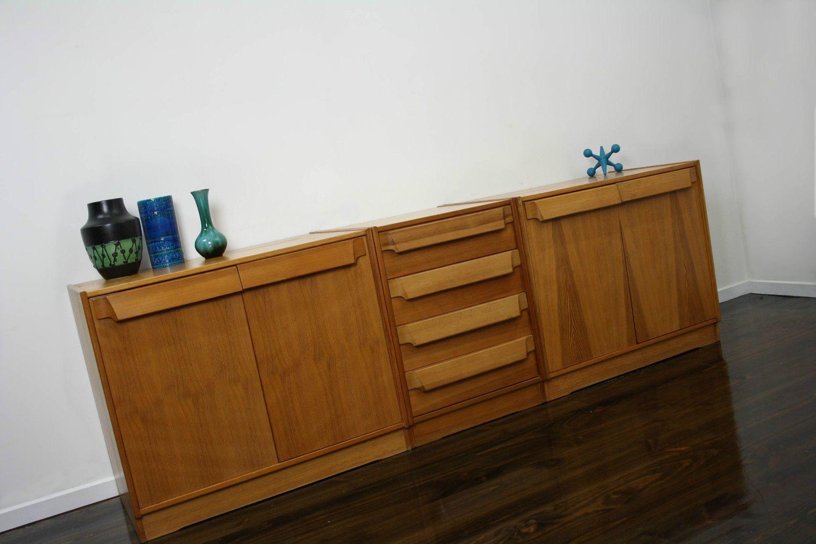 Mid Century Sideboard Lowboy Drawers Cabinet Retro Vintage Oak