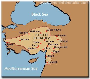 Map of the Bronze Age Hittite Kingdom north of Lebanon in present day Turkey or Anatolia