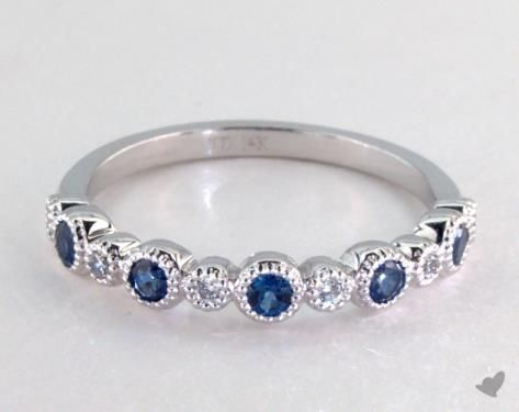14K White Gold Blue Sapphire and Diamond Bezel Ring