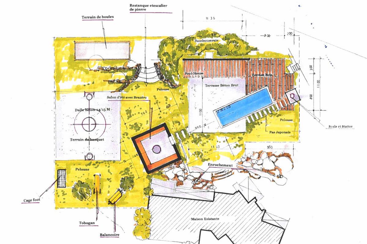plan #jardin #extérieur #villa #paysagiste #pa #piscine #plantations ...