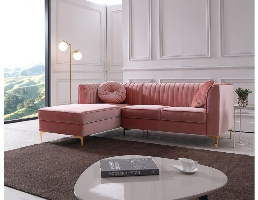 Modern Rachel Pink Velvet Fabric Sectional Florida Velvet Sectional Sectional Sofa Cheap Living Room Sets