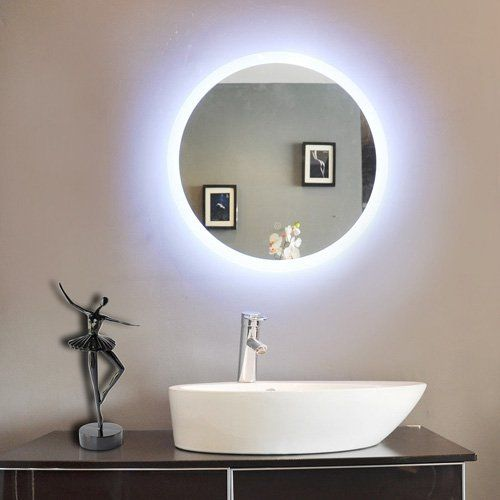 Paris Mirror Round Bathroom Mirror With LED Backlight | From Hayneedle.com  | Cruz Residence | Pinterest | Round Bathroom Mirror, Bathroom Mirrors And  ...