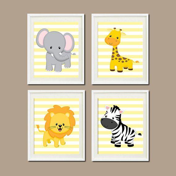 JUNGLE Nursery Wall Art ELEPHANT Giraffe Lion Zebra Set Of