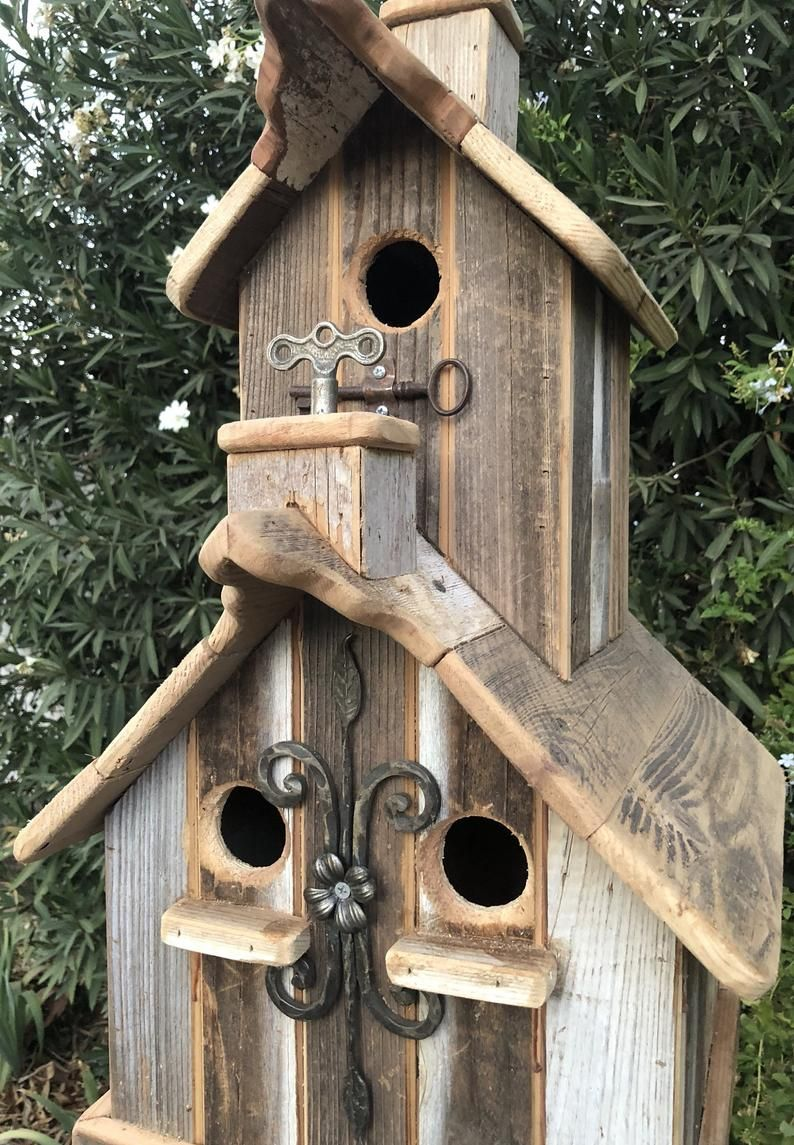 Ready To Ship First Two Pictures Two Story Rustic Birdhouse