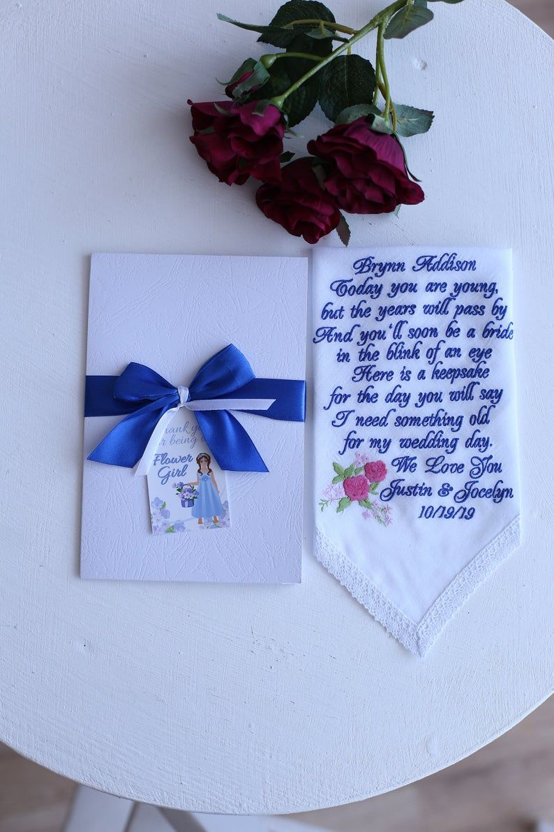 Father of the Bride Wedding Favour Personalised Handkerchief Hankie Gift Wrapped