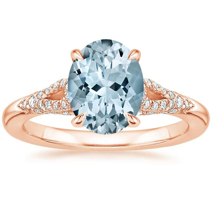 14k Rose Gold Aquamarine Zephyr Diamond Ring 1 4 Ct Tw Products Classic Engagement Rings Beautiful Engagement Rings Rose Gold Diamond Ring