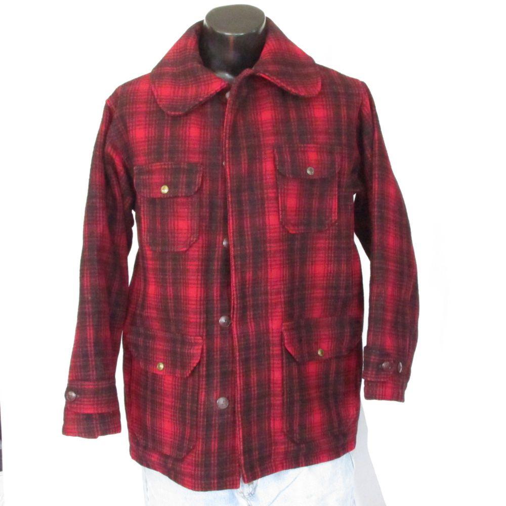 0224ee175342d Vintage Woolrich Hunting Field Coat Plaid 1940s Size 42 Bird Duck Wool  Heavy USA #Woolrich #HuntingCoat