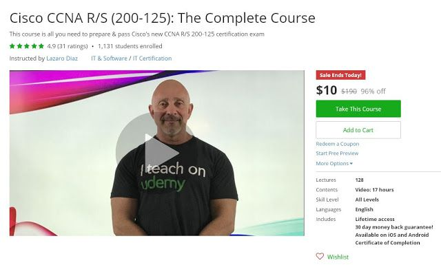 Coupon Udemy - Cisco CCNA R/S (200-125): The Complete Course