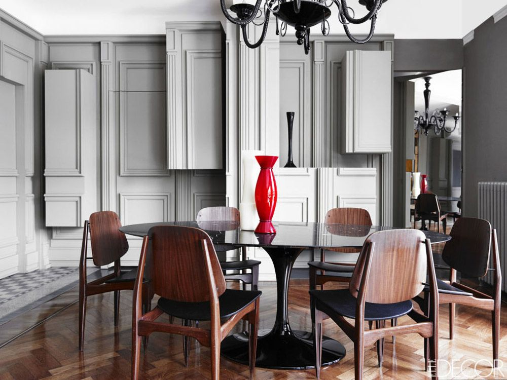 Alessandro Dellu0027Acqua Milan Home Dining Room 1960s Italian Chairs Saarinen  Table Murano Chandelier