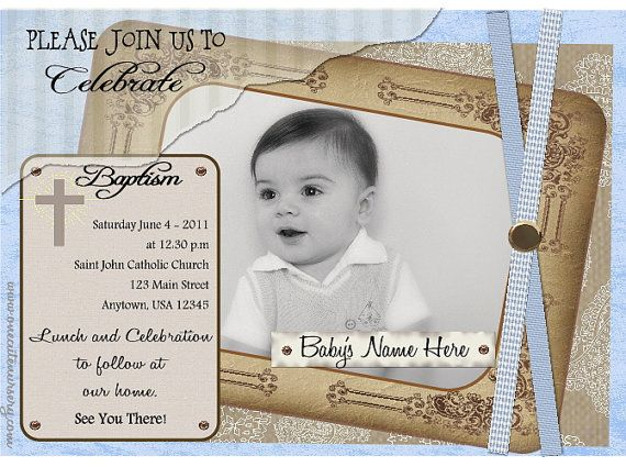 Baptism christening invitation antique gold baby blue or baptism christening invitation antique gold baby blue or pink baby girl stopboris Gallery