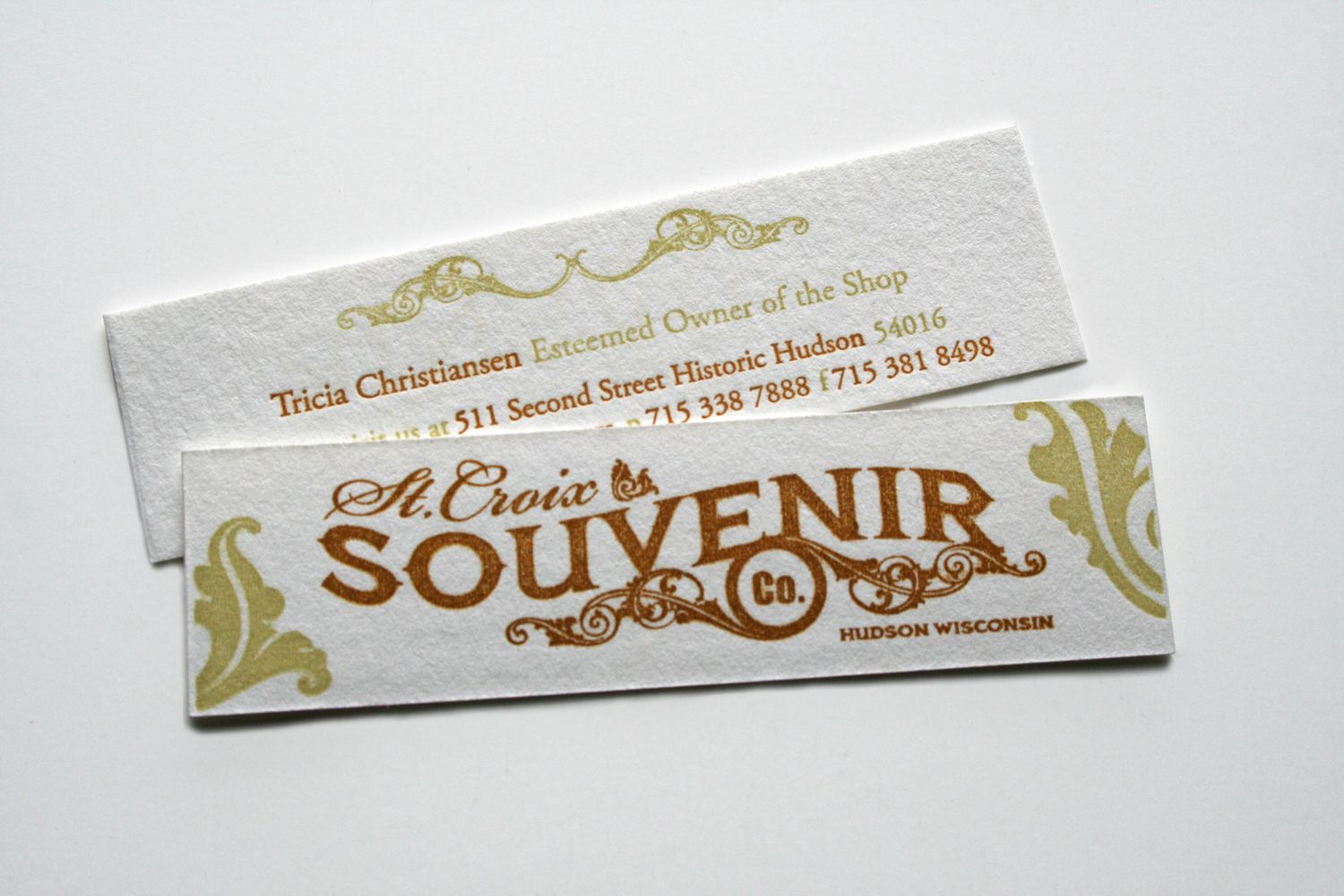 Business cards for St. Croix Souvenir Co. in Hudson, WI