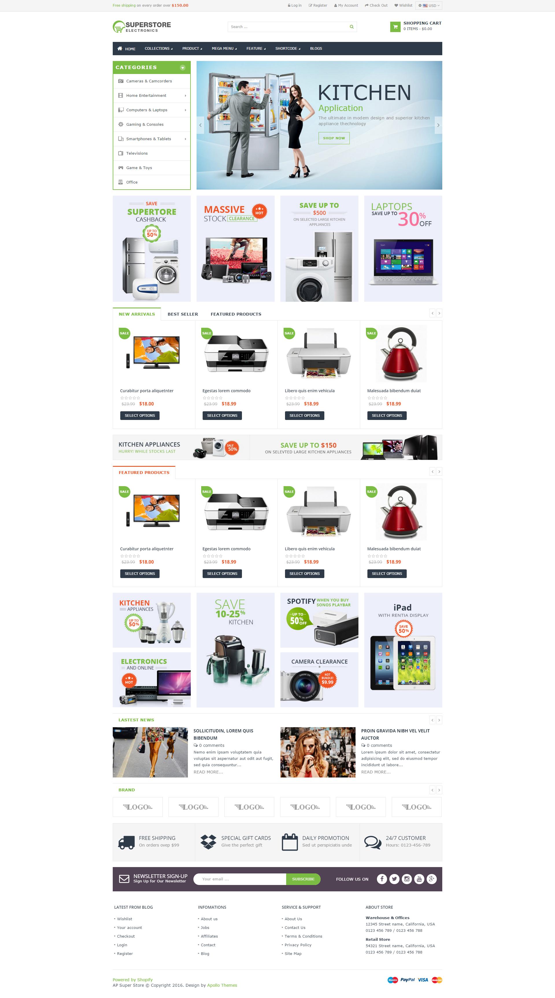 Ap Super Store Shopify Theme Web design, Electronic shop