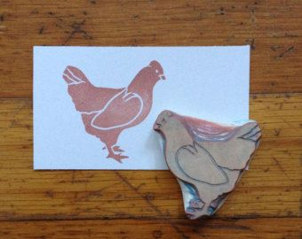 Chicken Rubber Stamp Hand Carved By EnchantingStamps On Etsy