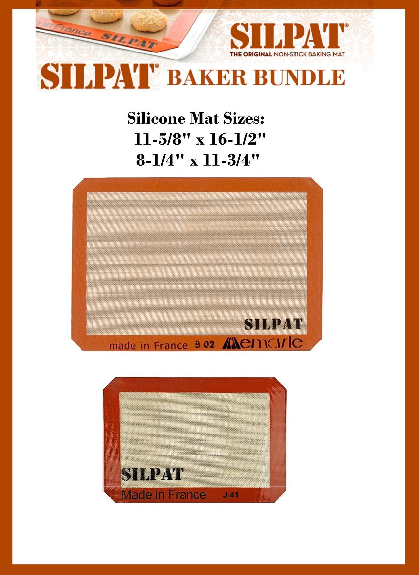 Silpat Bakers Bundle Us Half Size 115 8 X 161 2 Silicone Baking Mat And 81 4 X 113 4 Jelly Roll Details Can Be Bakeware Set Baking Mat Silicone Baking Mat
