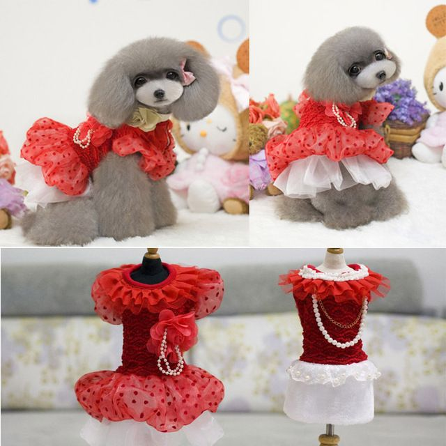 pretty winter pet clothes for dogs new Small Dogs Cat dog dress Puppy wedding dress clothes for dogs