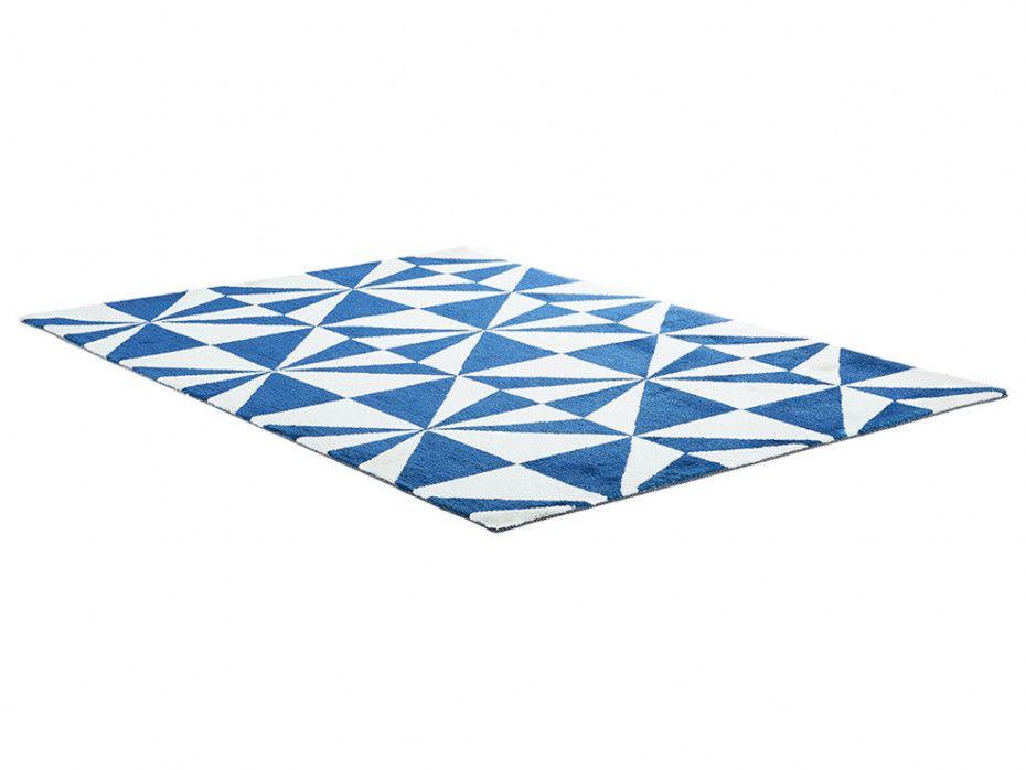 tapis tisse artik noir et blanc ou bleu