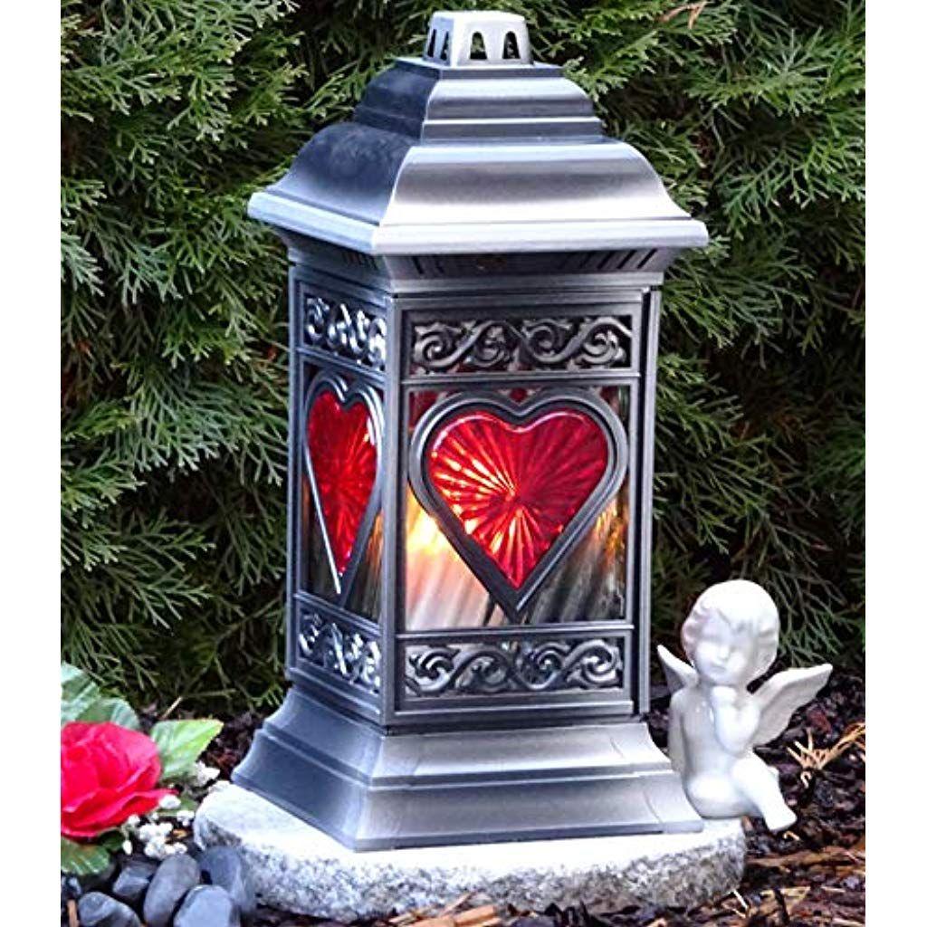 Grablampe Grablicht Grableuchte LED LATERNE mit Kerze Grablaterne