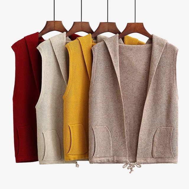 ac7732f5ef2 2018 New Autumn Winter Casual Hooded Knit Cardigan For Women Plus Size  Loose Short Sleeveless Sweater