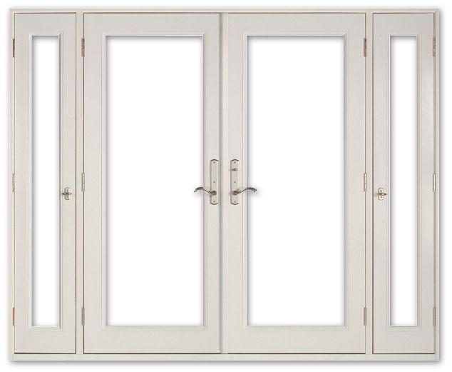 Fibergl Exterior Double French Door with Vented Sidelites ... on