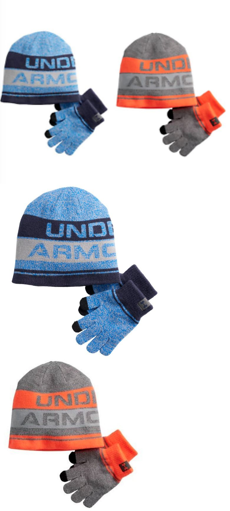 Gloves and Mittens 57885  New Boys Youth Under Armour Hat And Glove Set  Blue Orange One Size Fits Most -  BUY IT NOW ONLY   12.99 on  eBay  gloves   mittens ... 2ce82acd1d4