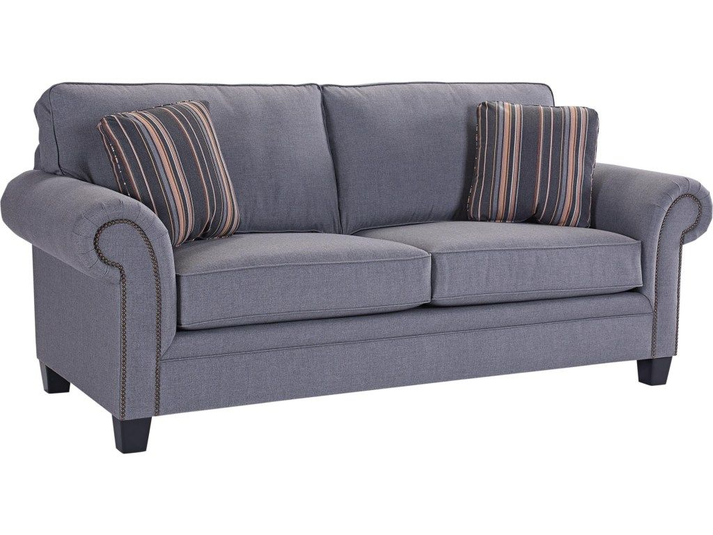 broyhill furniture travis transitional sofa with rolled arms and