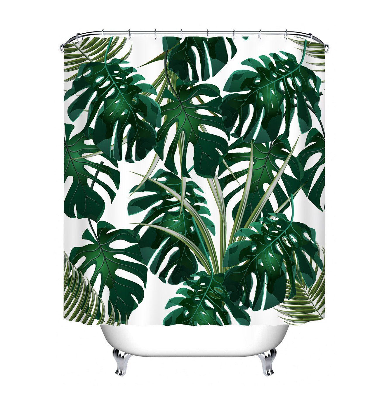 Dark Green Tropical Jungle Decor Shower Curtain For Bathroom By Lb Hawaiian Forest Palm Leaf Bath Curtain Mildew Resis Bathroom Curtains Curtains Curtain Decor