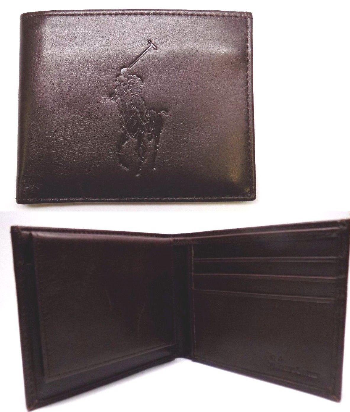 4d8cb06e39 ... cheap wallets 2996 new men s polo ralph lauren big pony brown leather  id passcase billfold