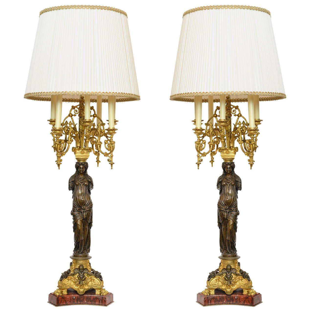Elegant 19th Century Greek Maiden Statue Lamps By Collas U0026 Barbedienne
